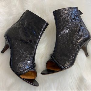 Givenchy Croc Leather Espresso Booties 38 1/2
